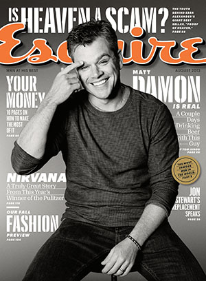 Matt Damon covers the August issue of Esquire (Max Vadukul)