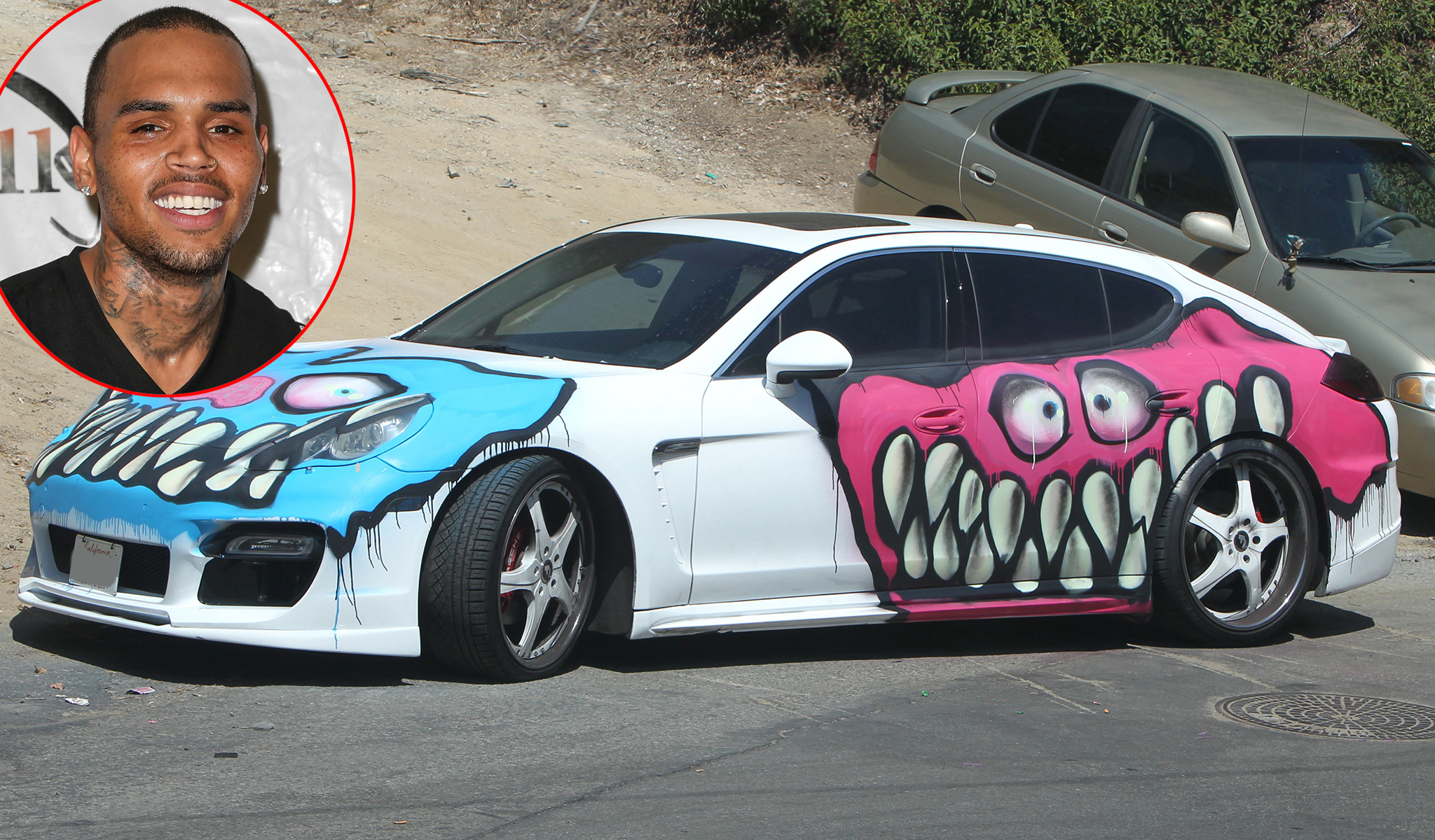 Chris Brown and his graffiti-painted car (Getty Images/X17online.com)