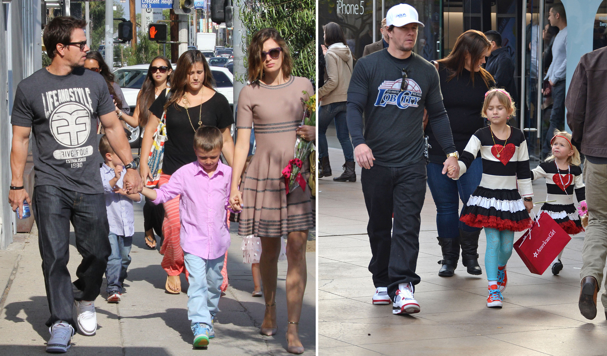 Mark Wahlberg, also known as dad, walks with his little ones. (FameFlynet/PacificCoastNews.com)