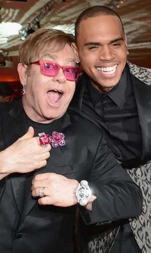 Elton John and Chris Brown (Dimitrios Kambouris/Getty Images)