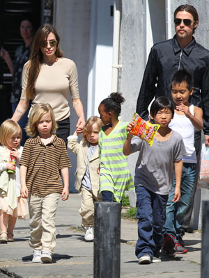 Brangelina and their brood. (StClair/Massie/Splash News)