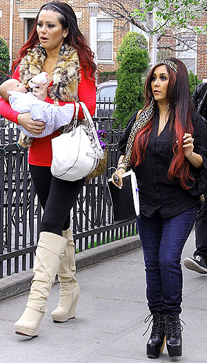 Snooki and JWoww bond with a fake baby. (Said Elatab/Splash News)