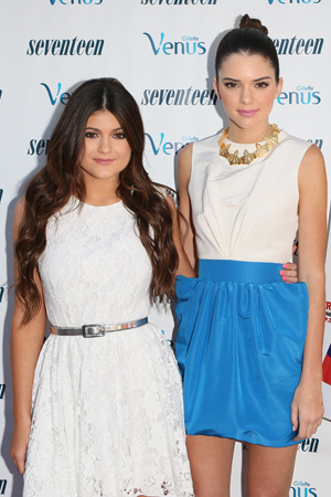 Kendall and Kylie Jenner pop a pose. (JB Lacroix/WireImage)