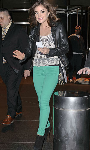 Colored jeans as worn by Lucy Hale (Pacific Coast News)