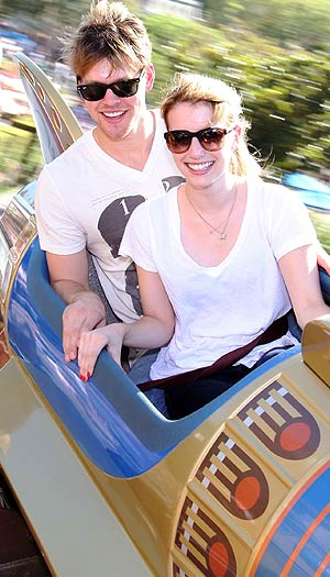 "Emma with ""Glee's"" Chord Overstreet at Disneyland in August. Getty Images"