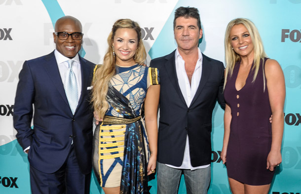 Lovato and the other X Factor judges (Getty Images)