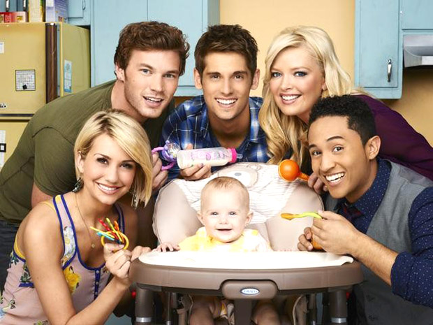 Chelsea Kane, Derek Theler, Jean-Luc Bilodeau, Melissa Peterman, and Tahj Mowry star in a new sitcom. (ABC FAMILY/ANDREW ECCLES)