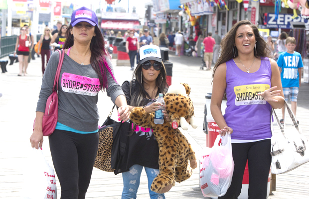 JWoww, Snooki, and Sammi Sweetheart Giancola bond at the Shore. (Asadorian-Mejia/Splash News)