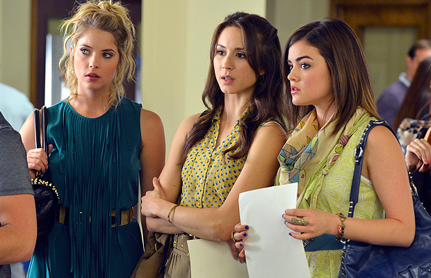 Ashley Benson, Troian Bellisario, and Lucy Hale plot. (ABC FAMILY/ERIC MCCANDLESS)