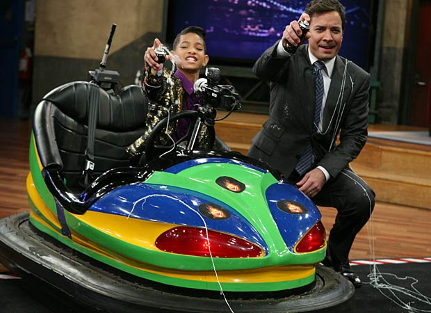 Willow Smith and Jimmy Fallon play bumper cars during her visit. Lloyd Bishop/NBC