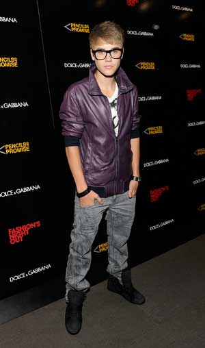 The fashionable Justin Bieber, 17, toasts Fashion's Night Out in NYC. - Eugene Gologursky/Getty Images