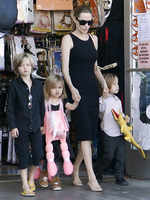 Angelina Jolie with Shiloh, Vivienne, and Knox (Karl Larsen/INFphoto.com)