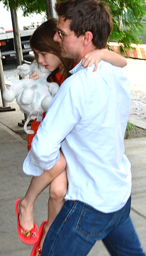 Tom with Suri on Tuesday. (James Devaney/WireImage)