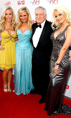 Girls Next Door: Kendra, Bridget, Hef, and Holly. (Frazer Harrison/Getty Images )