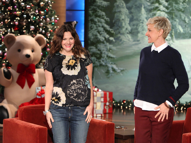 Drew Barrymore on Ellen DeGeneres (Michael Rozman/Warner Bros.)