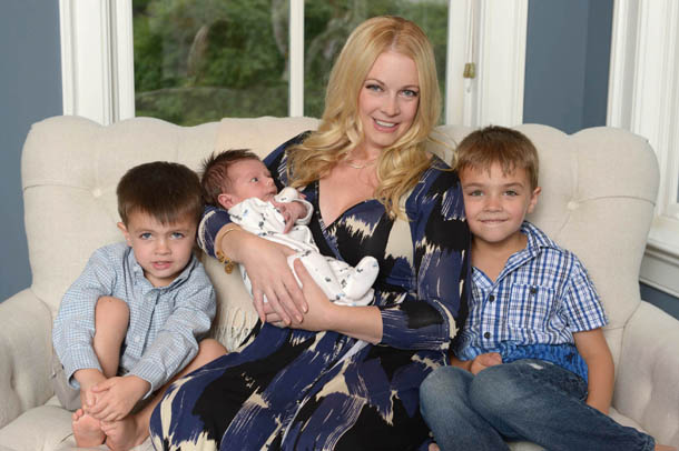 Melissa Joan Hart with Braydon, Tucker, and Mason (Albert Michael/startraksphoto.com for Merck For Mothers)