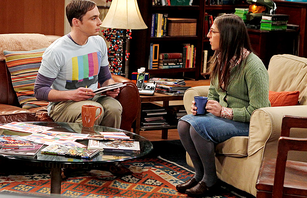 Bialik with Jim Parsons on The Big Bang Theory. (Cliff Lipson/CBS)