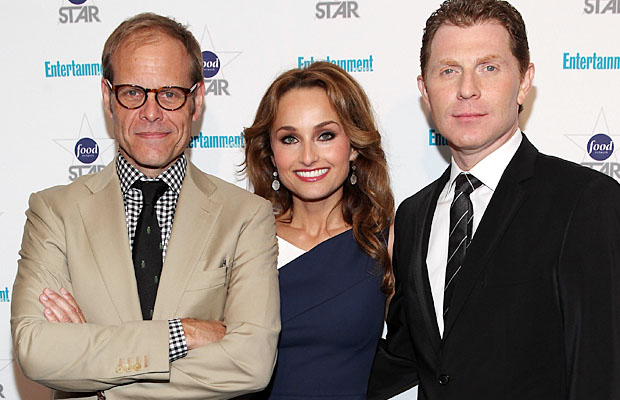 Giada and her fellow Food Network Star coaches Alton Brown and Bobby Flay. (Getty Images)