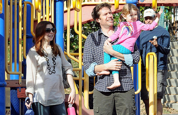Hannigan, Denisof, and Saty at the park. (Icono/PacificCoastNews.com)