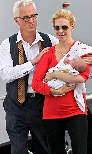 "January Jones brought her 1-month-old son, Xander, to the set of ""Mad Men"" on Monday. - INF/GSI"