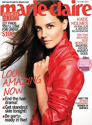 Katie Holmes is on the November cover of Marie Claire. Tesh/Marie Claire