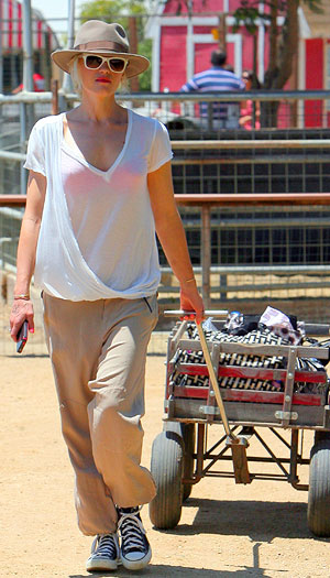 Rocker mom Gwen Stefani hit up a Los Angeles area farm with her kids on Saturday. - INFphoto.com