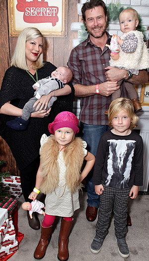 Tori Spelling and Dean McDermott brought the whole brood, including new baby Finn. (Tiffany Rose/WireImage)