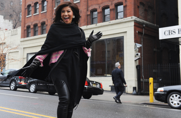 Julie Chen, outside CBS studios in Manhattan, talks to omg! (CBS via Getty)