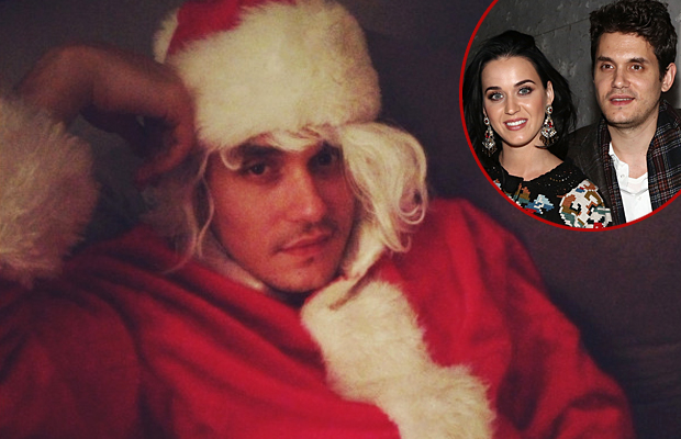 John Mayer as Katy Perry's 'Santa Baby'  (Twitter/WireImage)