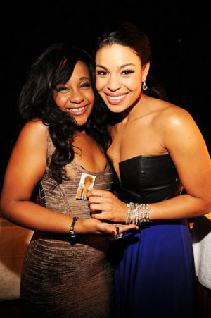 Bobbi with Jordin Sparks, who plays Whitney's daughter in Sparkle (Kevin Mazur/WireImage via ABC)