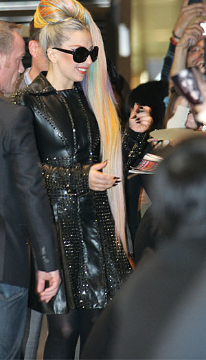Mother Monster meets her Little Monsters. (Michael Steinebach / Splash News)