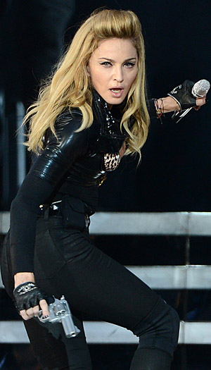 Madonna at a recent stop in Scotland on her MDNA tour.