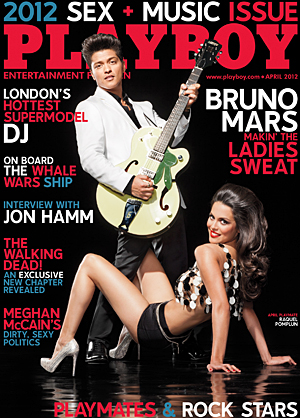 Bruno Mars serenades Miss April. (Tony Kelly/Playboy)