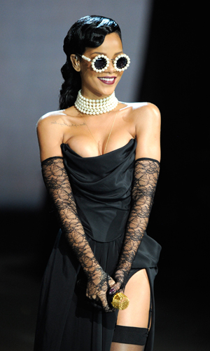 Rihanna at the VS Fashion Show. (Kevin Mazur/WireImage)