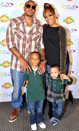 The Browns with her sons Rodney and Romelo. (Moses Robinson/WireImage_
