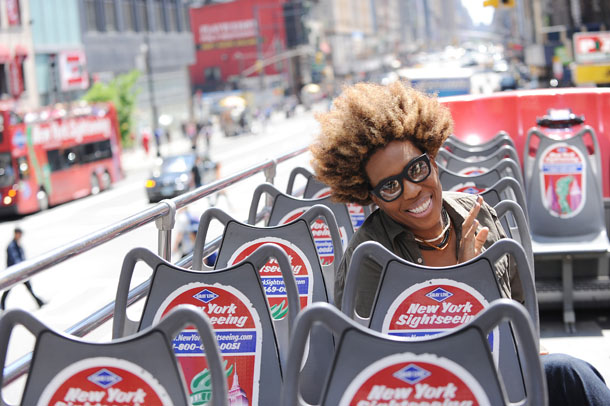While promoting Covered, Gray took a spin on a double-decker Gray Line bus in NYC. (A. Ariani/Splash News)