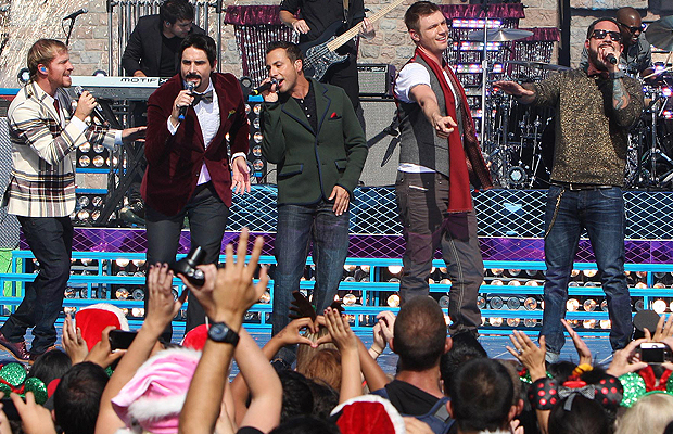 The Backstreet Boys perform their new song. (Getty Images)