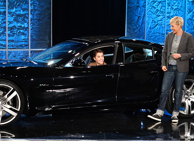 Bieber in his new ride. (Michael Rozman/Warner Bros.)