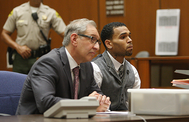 Chris Brown and attorney Mark Geragos. (WireImage)