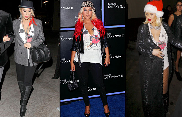 Christina Aguilera and her Mickey shirt. (WireImage(2)/NPG.com)
