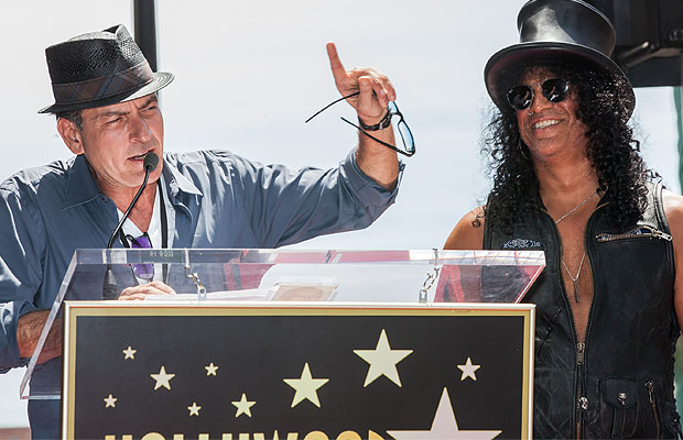 Sheen and Slash on the Hollywood Walk of Fame. (Chelsea Lauren)
