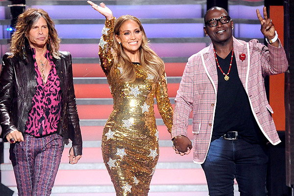 Steven Tyler, Jennifer Lopez, and Randy Jackson. (Getty Images)