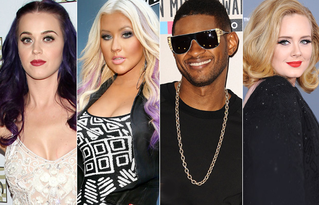 Katy Perry, Christina Aguilera, Usher, and Adele. (WireImage/Getty Images/FilmMagic)