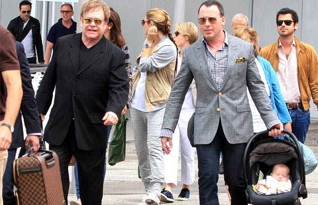 Elton John and David Furnish (with baby Zachary) are the first gay parents to ever be nominated for Britain's Celebrity Dad of the Year award. - aurizio La Pira/Splash News