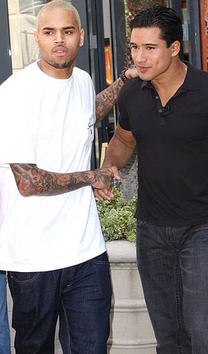 On Tuesday, Chris Brown bumped into Mario Lopez at The Grove in L.A. - Fallen Star/PacificCoastNews.com