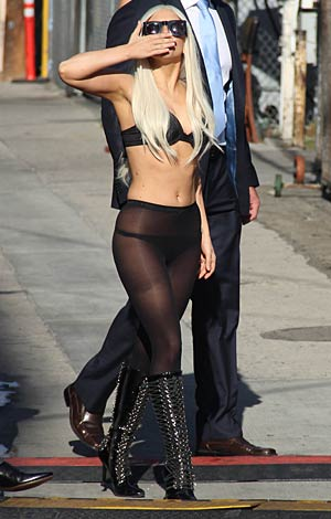 "Later, she slipped into something a little more revealing for her performance on ""Jimmy Kimmel Live!"" - Splash News"
