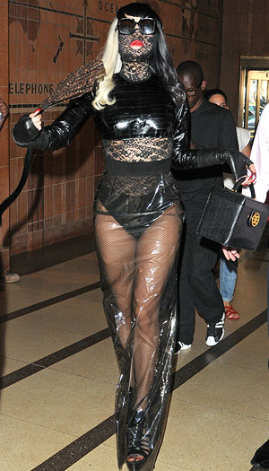 Lady Gaga arrived at SiriusXM's studios in New York on Monday morning to do her first-ever interview with Howard Stern. - Asadorian-Mejia/SplashNews