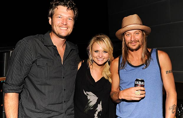 Kid Rock was joined by country sweethearts Blake Shelton and Miranda Lambert. - Kevin Mazur/WireImage.com