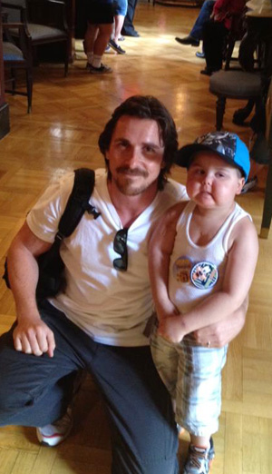 Christian Bale and 4-year-old Jayden Barber. (Facebook)