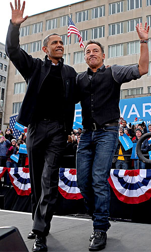 Bruce Springsteen traveled with the president to rallies on Monday. (Chip Somodevilla/Getty Images)